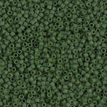 Delica Beads (Miyuki), size 11/0 (same as 12/0), SKU 195006.DB11-0797, dyed matte opaque olive, (10gram tube, apprx 1900 beads)