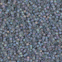 Delica Beads (Miyuki), size 11/0 (same as 12/0), SKU 195006.DB11-0863, matte grey ab, (10gram tube, apprx 1900 beads)