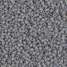 Delica Beads (Miyuki), size 11/0 (same as 12/0), SKU 195006.DB11-0882, matte opaque light grey ab, (10gram tube, apprx 1900 beads)