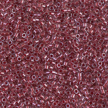 Delica Beads (Miyuki), size 11/0 (same as 12/0), SKU 195006.DB11-0924, sparkling cranberry lined crystal, (10gram tube, apprx 1900 beads)