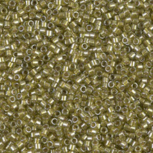 Delica Beads (Miyuki), size 11/0 (same as 12/0), SKU 195006.DB11-0908, sparkling light yellow lined chartreuse, (10gram tube, apprx 1900 beads)