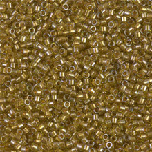 Delica Beads (Miyuki), size 11/0 (same as 12/0), SKU 195006.DB11-0909, sparkling marigold lined chartreuse, (10gram tube, apprx 1900 beads)