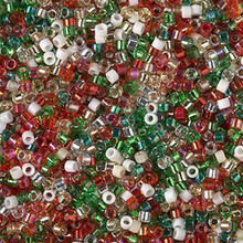 Delica Beads (Miyuki), size 11/0 (same as 12/0), SKU 195006.DB11-mix19, antique christmas mix, (10gram tube, apprx 1900 beads)