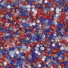 Delica Beads (Miyuki), size 11/0 (same as 12/0), SKU 195006.DB11-mix11, 4th of July mix, (10gram tube, apprx 1900 beads)