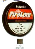 "FireLine Braided Bead Cord, .006"" diameter, Fine Size D, (6 pound test), 50 yards, smoke grey, (1 50 yd spool)   SKU 401276.SG-D-6-8-50"