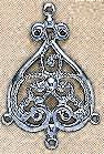 "Earring Filigree and Chandelier Component, Imit. Rhodium Plate (nickel color), over brass, Baroque, 1 3/8"", (10 pieces)"