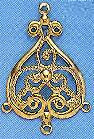 "Earring Filigree and Chandelier Component, Gold Plate, over brass, Baroque, 1 3/8"", (10 pieces)"