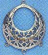 """Earring Filigree and Chandelier Component, Imit. Rhodium Plate (nickel color), over brass, Spanish, 1 1/8"""", (10 pieces)"""