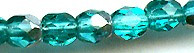 4mm Round Fire Polish Bead, Czech Glass, aqua green/silver, (100 beads)