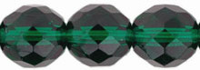 6mm Round Fire Polish Bead, Czech Glass, emerald, (100 beads)