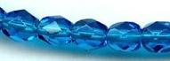 6mm Round Fire Polish Bead, Czech Glass, aqua dark, (100 beads)