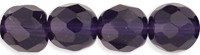 6mm Round Fire Polish Bead, Czech Glass, tanzanite (a red-hat purple), (100 beads)