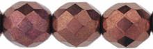 8mm Round Fire Polish Bead, Czech Glass, dark bronze, (50 beads)