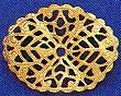 "Oval, Wavy Filigree, Small, 1 1/4"", gold plate, (6 pieces)"