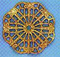"Round, Wavy Filigree, 1 1/8"", gold plate, (6 pieces)"