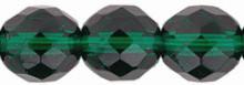 12mm Fire Polish Round Beads, Czech Glass, emerald, (25 beads)