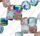 8mm Glass Diagonal Cube Bead, Czech Glass, green luster, (50 beads)