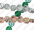 6-Petal Flower Bead, 8x4mm glass, Side Drilled, silver/pink/green, (50 beads)