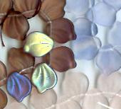 12x15mm Lalique Broad Leaf Bead (horizontal drilled), Czech Glass, rose/sapphire matte, (25 beads)
