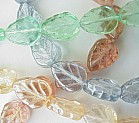 8x10mm Glass Leaf Bead (Birch Vein, vert. dr.), Czech Glass, topaz/pink luster, (50 beads)