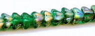 Bell Flower Glass Bead, 8x6mm, Center Drilled, emerald matte vitrail, Czech Glass, (50 beads)