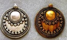 East Indian Metal Charm/Drop, Round - Dapped Shield, 38mm, silver plated, (2 pieces)