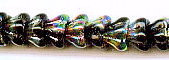 Bell Flower Glass Bead, 8x6mm, Center Drilled, jet vitrail, Czech Glass, (50 beads)