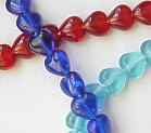 6mm Glass Heart Beads, opaque red, (50 beads)