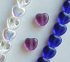 8mm Glass Heart Beads, medium sapphire, (50 beads)