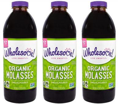 Wholesome Sweeteners Organic Unsulphured Molasses, Pack of 3