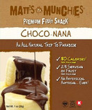 Matt's Munchies Premium Fruit Snack Choco Nana, Pack of 12 x 1 oz.
