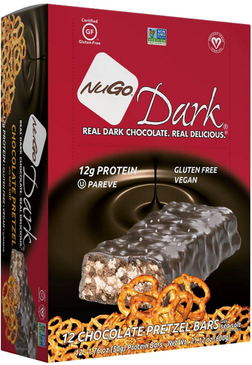 NuGo Dark Chocolate Pretzel Protein Bar, 1.76 oz. (Pack of 12)