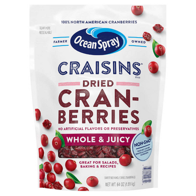 Ocean Spray Craisins Whole Dried Cranberries, 64 oz.