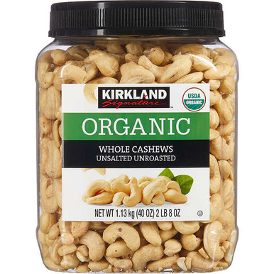 Kirkland Raw Whole Cashews Unsalted Unroasted, 40 oz.