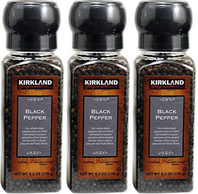 Kirkland Black Pepper with Grinder, 6.3 oz. (Pack of 3)