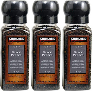 Kirkland Black Pepper with Grinder, 6.3 oz. (Pack of 3)