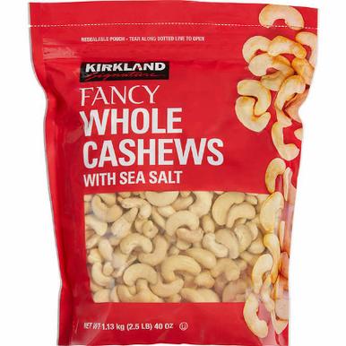 Kirkland Fancy Whole Cashews Roasted with Sea Salt, 40 oz.
