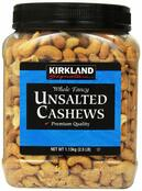 Kirkland Roasted and Unsalted Cashews, 2.5 lbs.