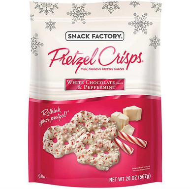 Snack Factory Pretzel Crisps White Chocolate and Peppermint , 20 oz.