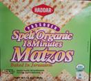 Haddar Organic Whole Spelt 18 Minute Passover Matza, 10.5 oz.