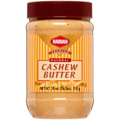 Haddar Premium Natural Cashew Nut Butter, 18 oz.