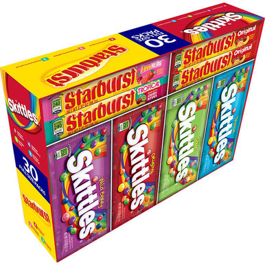 Skittles and Starburst Variety Pack, 30 Full Size Packs