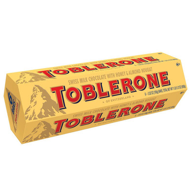 Toblerone Swiss Milk with Honey and Almond Nougat, 21.12 oz.