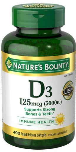 Nature's Bounty D3 125 mcg 5000IU, 400 Softgels