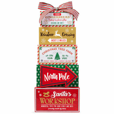 To the North Pole Retro Holiday Gift Tower