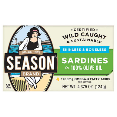 Season Skinless Boneless Sardines in Olive Oil, 4.375 oz. (6 Pack)