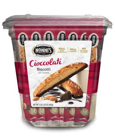Nonni's Almond Dark Chocolate Cioccolati Biscotti, 25 Ct.
