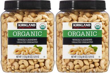 Kirkland Signature USDA Organic Unsalted Unroasted Whole Cashews 2.5 lb, 2-count