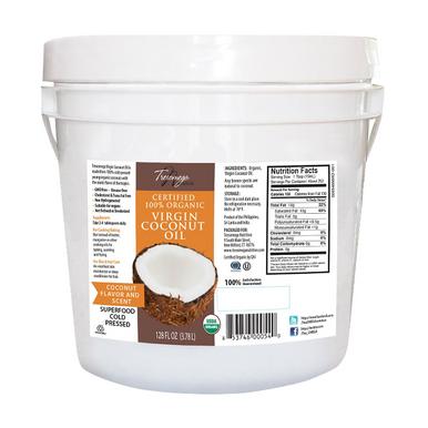 Tresomega Nutrition Organic Virgin Coconut Oil Pail, 128 oz.