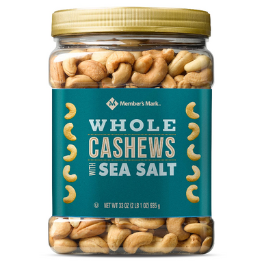 Member's Mark Roasted Whole Cashews with Sea Salt, 33 oz.